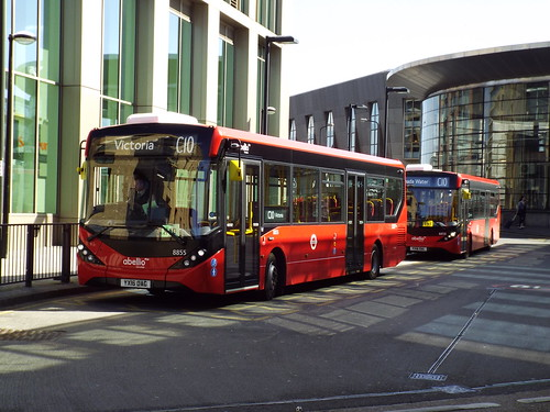 Brand new - Abellio London 8855 and 8858 at Canada Water on route C10