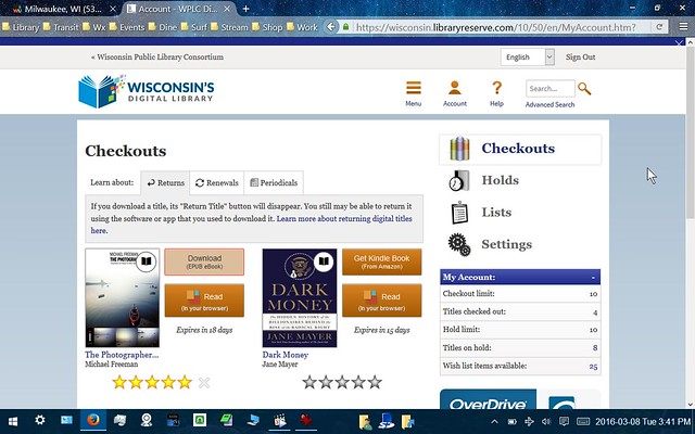 Sample Ebook Library Checkouts Page