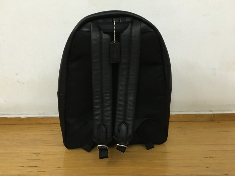 Coach Mens Campus Backpack Black Leather - Back