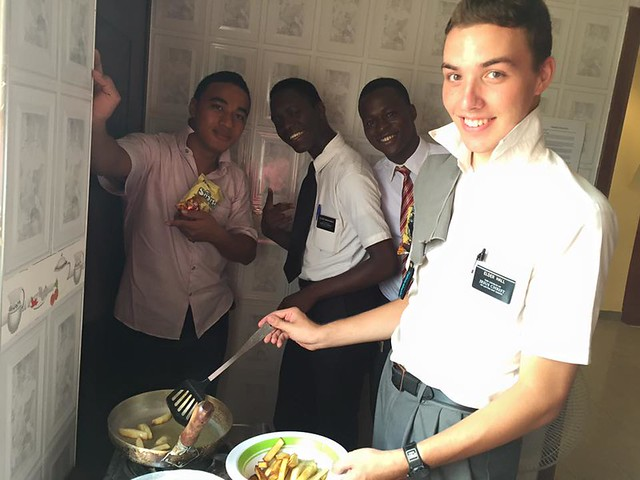 Elder Hall cooking fries for his flatmates
