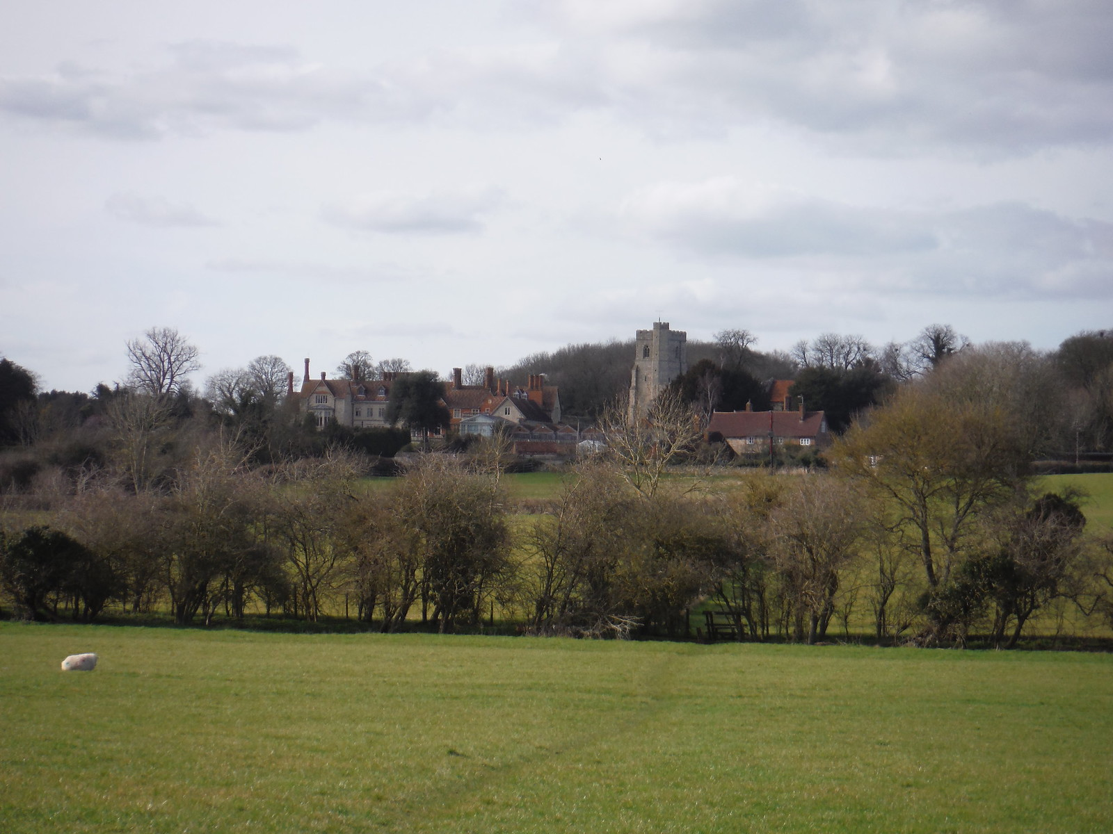 Dinton Church and Hall, from field to the SE SWC Walk 193 Haddenham to Aylesbury (via Gibraltar and Ford)