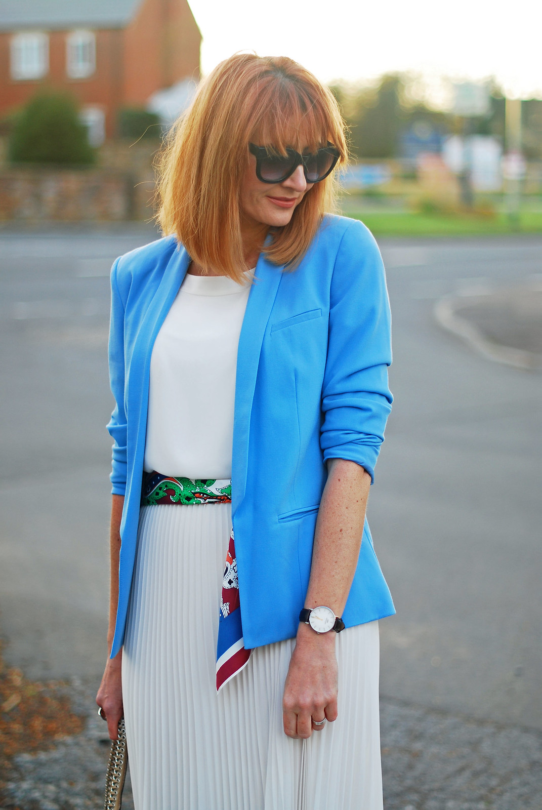 SS16 White pleated maxi skirt, white chiffon top, blue blazer, scarf as belt | Not Dressed As Lamb
