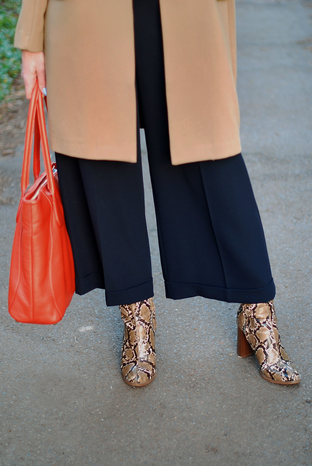 SS16 Smart style: Longline blazer with M&S Archive by Alexa culottes, snakeskin boots, orange tote | Not Dressed As Lamb