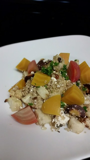 Beet, goat cheese, carrot and quinoa salad