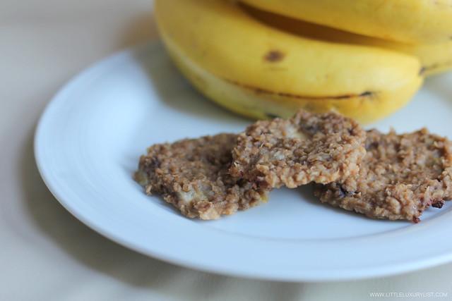 Banana oatmeal cookies side by little luxury list