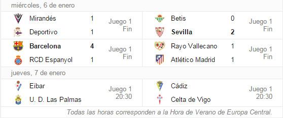 Copa del Rey - Octavos de Final (Ida): Resultados