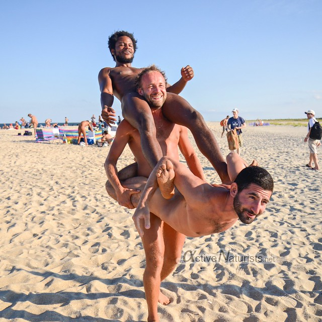 naturist acro-yoga 0018 Gunnison Beach, Sandy Hook, NJ, USA