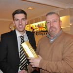Man of the Match v Keith 23/1/2016: Neale Davidson is presented with his award from Thistle Windows