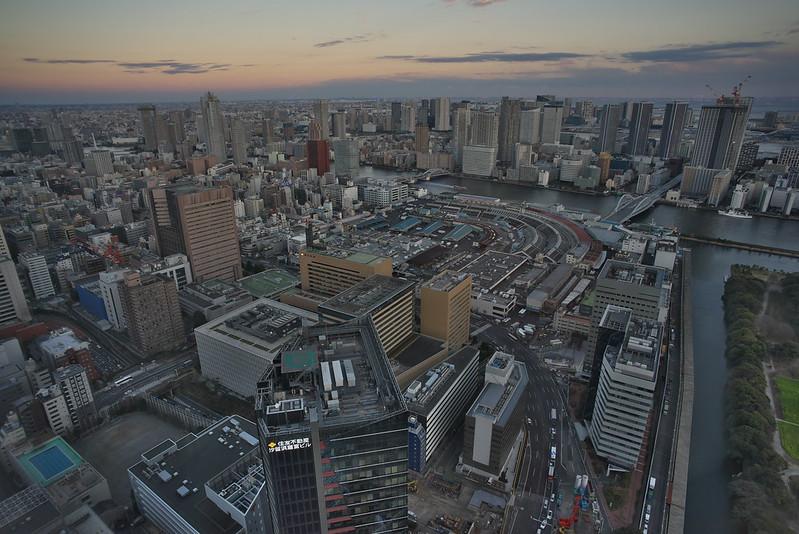 東京路地裏散歩 カレッタ汐留から見た築地市場 2016年2月7日