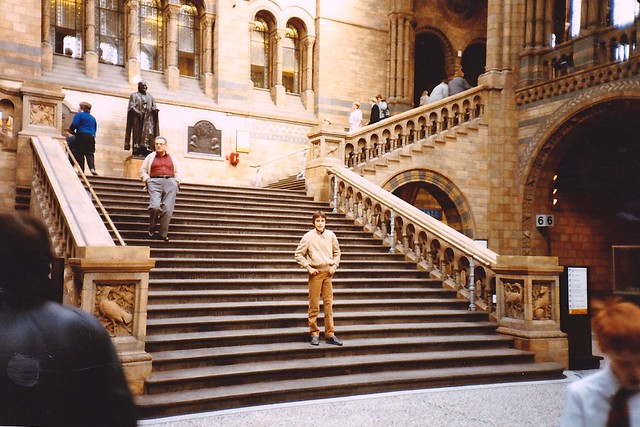 Patrick on the stairs of the Natural History Museum
