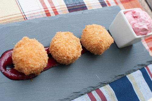 Deep fried Brie with Creamy Raspberry Sauce