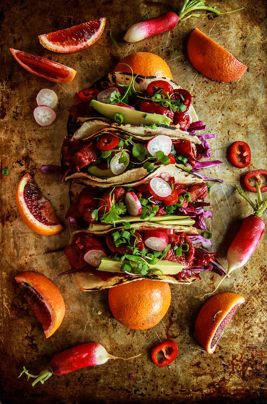 Honey Blood Orange Glazed Pork Tacos from HeatherChristo.com