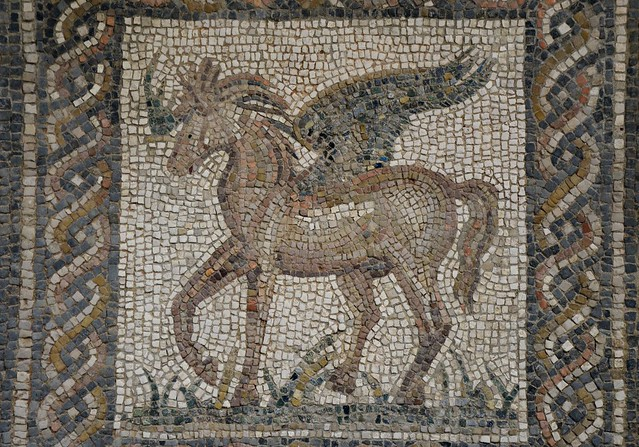 Mosaic emblema with Pegasus, the immortal winged horse which sprang forth from the neck of Medusa when she was beheaded by the hero Perseus, 2nd century AD, Archaeological Museum of Córdoba, Spain