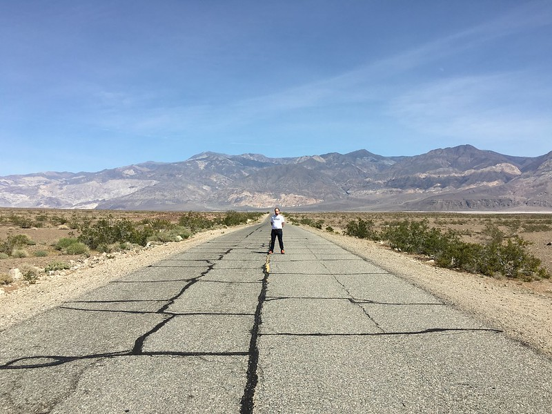 Jude on Mojave Desert highway in Panamint Valley