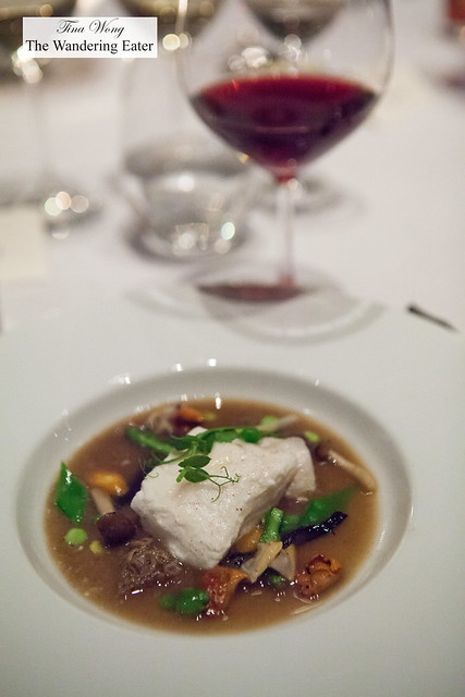 Poached Halibut; Manila Clams, Wild Mushroom Casserole paired with Pinot Noir, Pence Ranch, Santa Barbara, California 2014