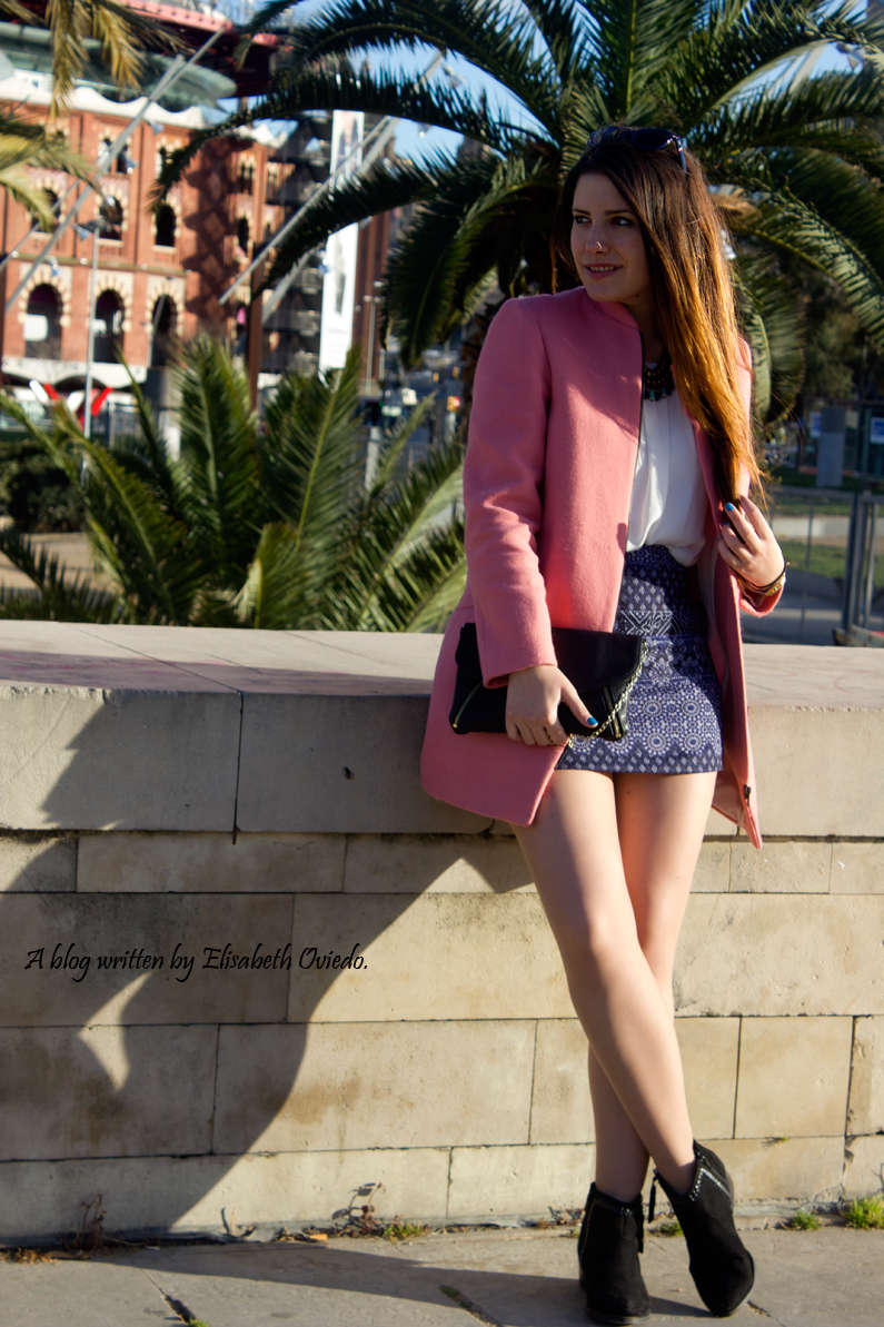 tribal blue skirt with pink coat HEELSANDROSES look (4)