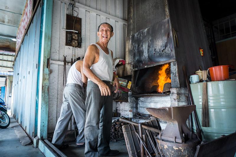 Blacksmith Sri Gading - fire in forge
