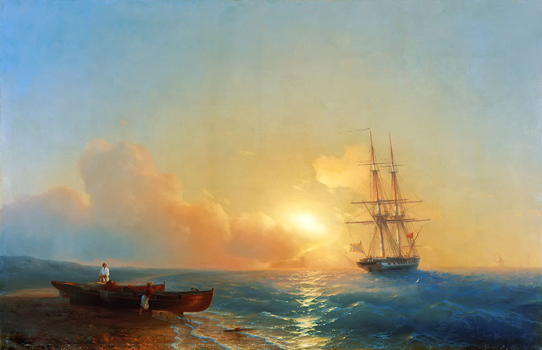 Fishermen on the coast of the sea by Ivan Aivazovsky, 1852