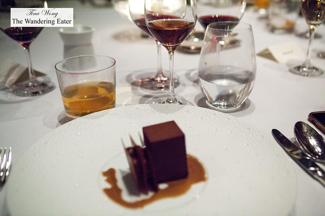 Coffee Caramel Cremeux, Roasted Almond Mousse, Bourbon Froth paired with Zweigelt, Jäger, Wachau, Austria 2014