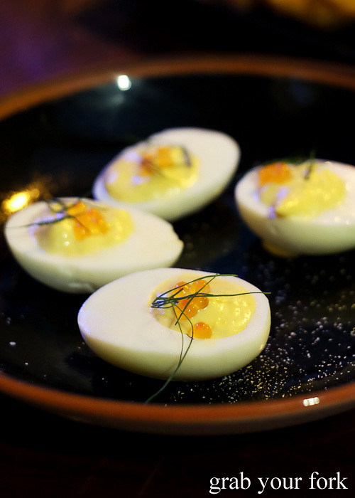 Deviled eggs with smoked trout and roe at Harpoon Harry by Morgan McGlone at Hotel Harry, Surry Hills