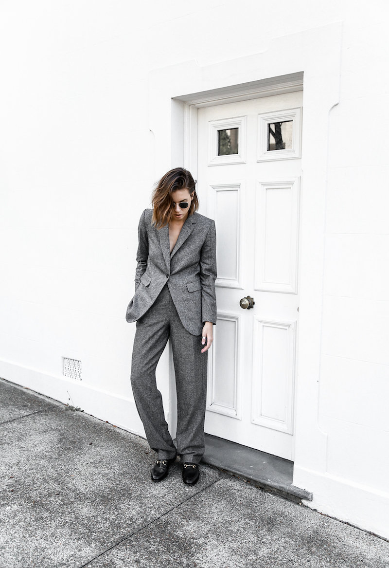all grey suit Gucci horsebit loafer Proenza Schouler PS11 street style fashion blogger modern legacy Witchery  (11 of 11)