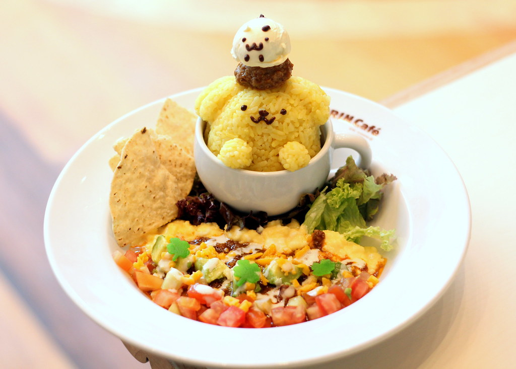 pompompurin cafe taco rice in a cup of friendship