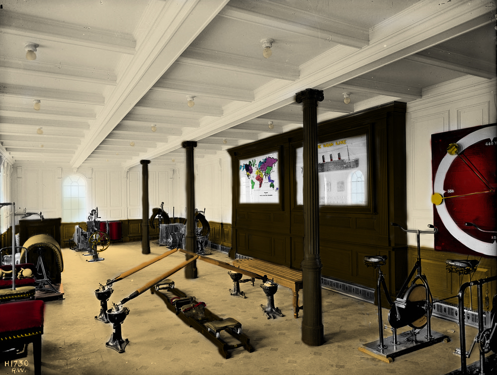 Colorized version of the original black-white photo of Titanic's first class gymnasium.