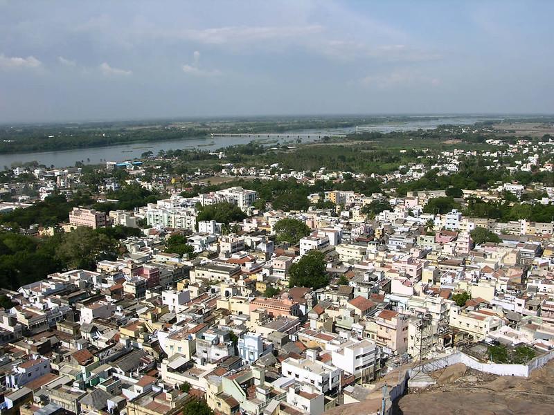 Vista de Trichy desde el templo hindú de Rock Fort