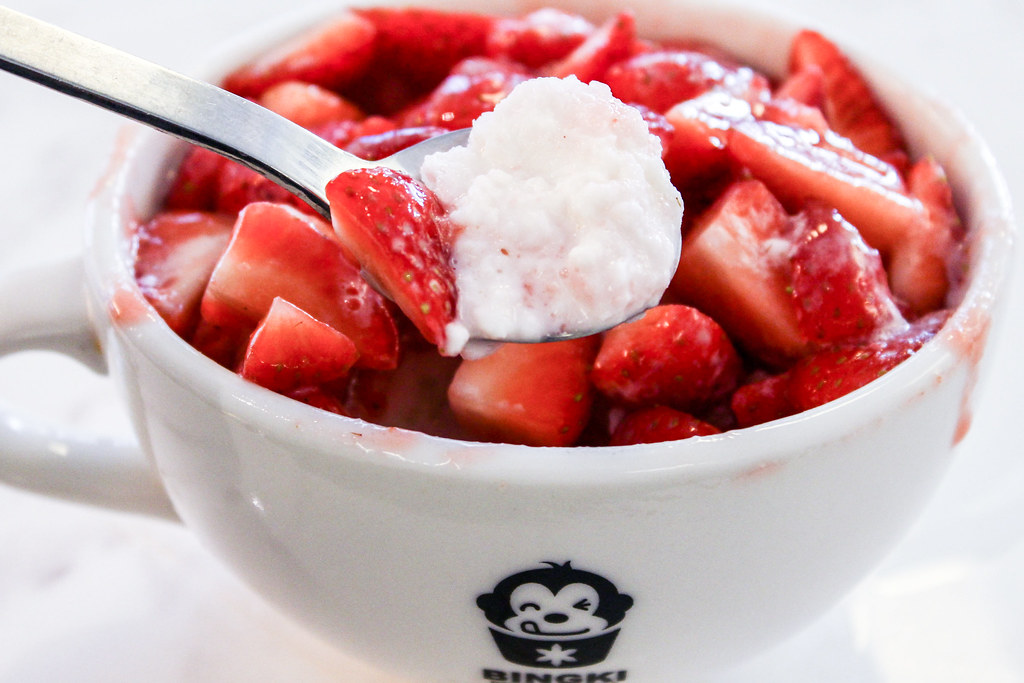 Bingki Cafe: Strawberry Bingsu On Spoon
