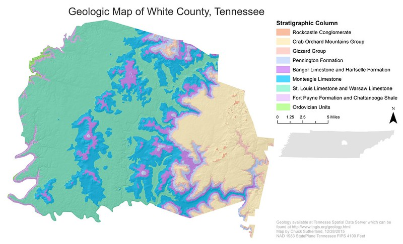Geologic Map of White County, Tennessee
