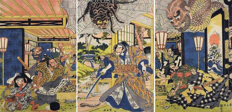 Utagawa Kuniyoshi - Raiko with giant spider, Watanabe no Tsuna playing go with Kintoki, Sadamitsu with Yoshimasa, 1829