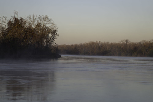 pink blue trees winter mist cold water sunrise river soft bend current riverbend brazos