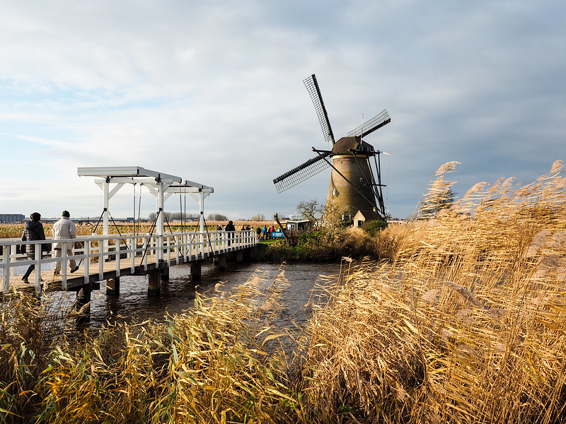 Traditional Dutch windmill at Kinderdijk