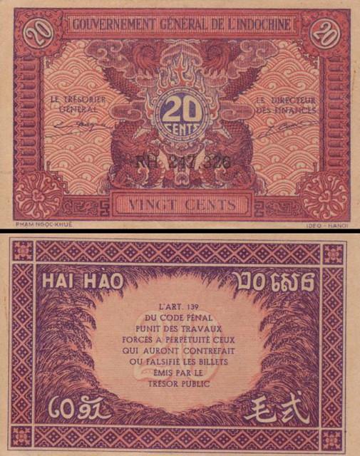 20 Centov Francúzska Indočína 1942 P90a
