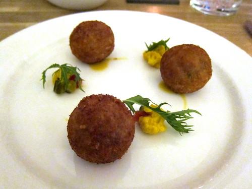 Pulled Ham Hock Croquetes, TPT Piccalilli