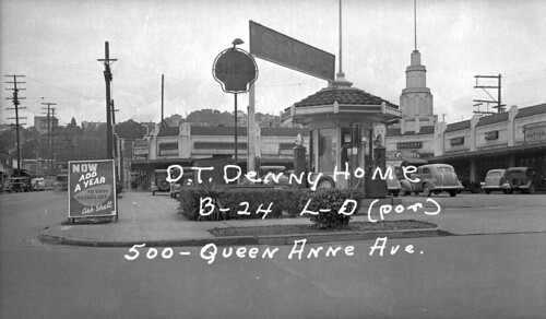 Car architecture seen at Lower Queen Anne's Motor-In Market, 1937