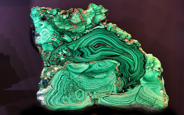 Green Flamingo inclusion - Malachite mineral sample, Royal Ontario Museum, Toronto