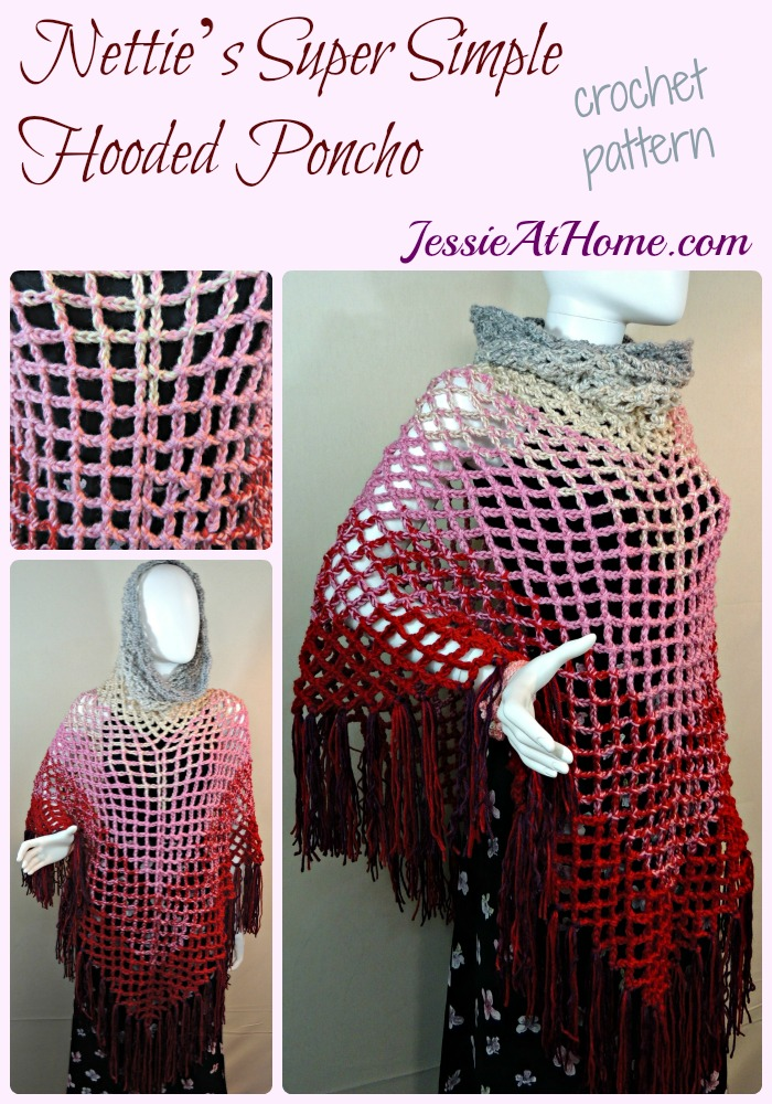 Nettie's Super Simple Hooded Poncho crochet pattern by Jessie At Home