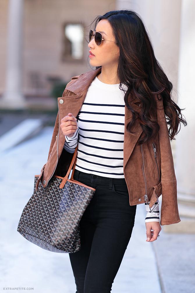 brown leather jacket stripes goyard st louis outfit