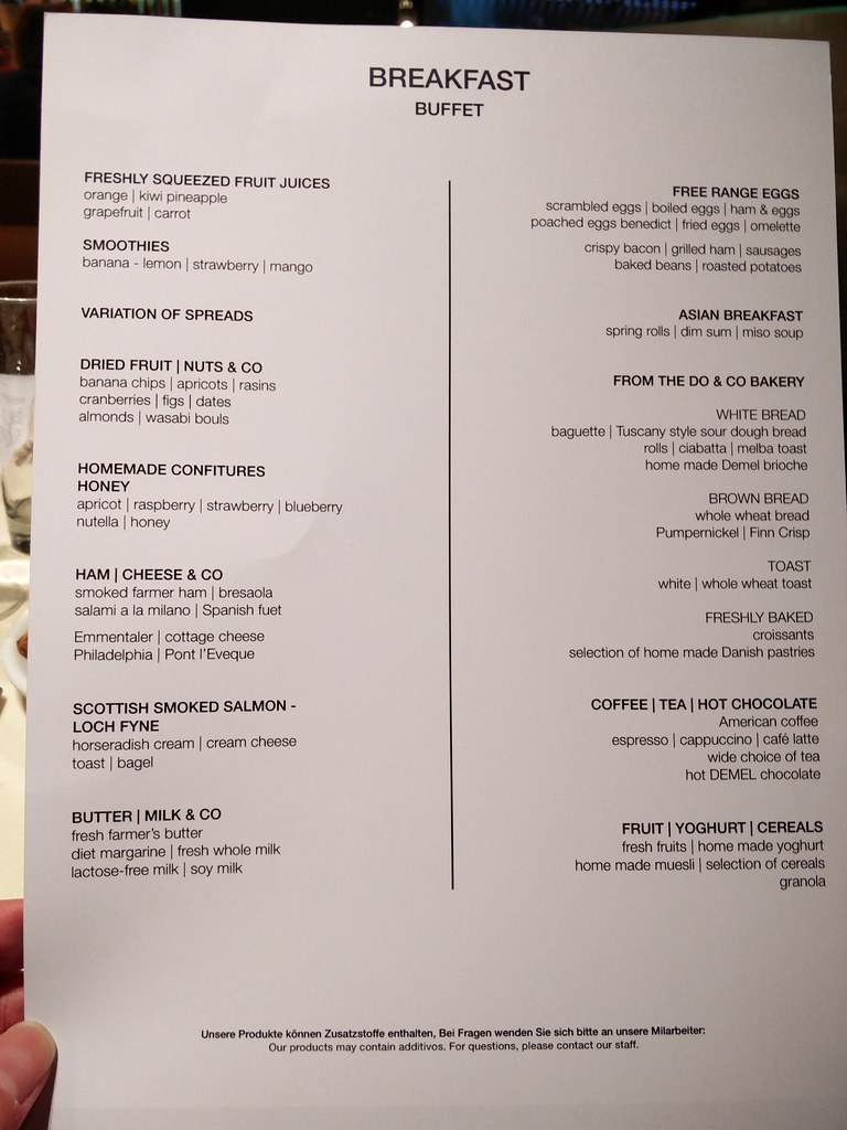 Breakfast buffet menu
