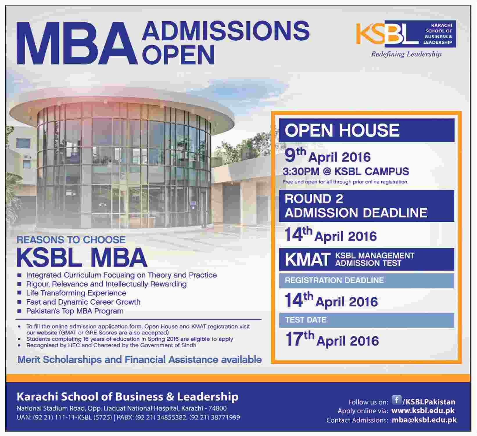 Karachi School of Bussiness and Leadership Admissions 2016