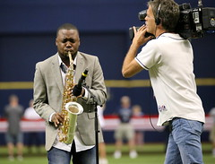 Saxophonist B.K. Jackson performs the national anthem before Rays' #OpeningDay