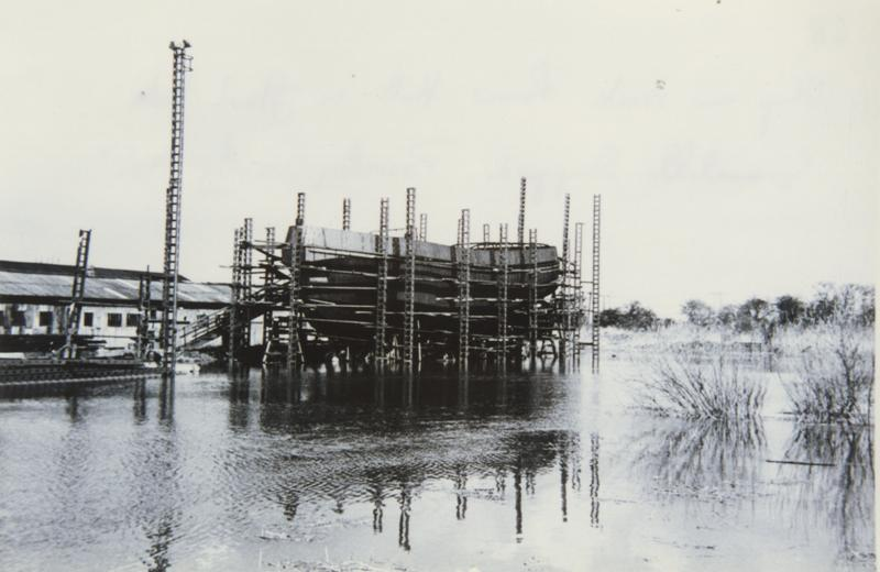 Ship on stock, River Hull in flood tide, Grovehill shipyard early 1950s (archive ref DDX1544-1-11 (68))