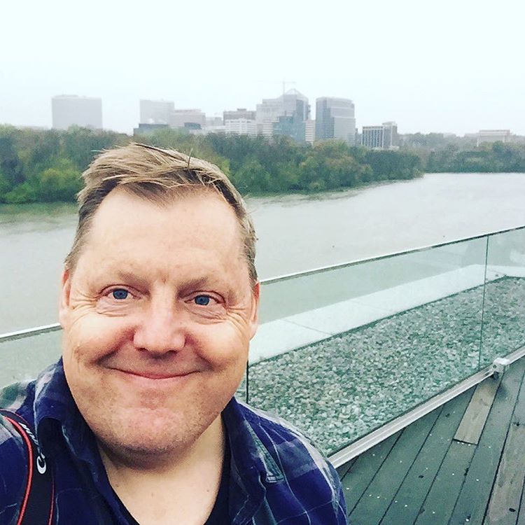 A little snow wasn't going to keep me from the roof of the House of Sweden during the #igdc meetup. That's the Potomac River and Rosslyn in the background.