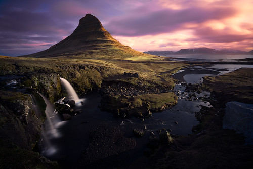 ocean travel blue mountain west green horizontal sunrise landscape is waterfall iceland spring europe purple visit adventure kirkjufell snaefellsnes kirkjufellfoss