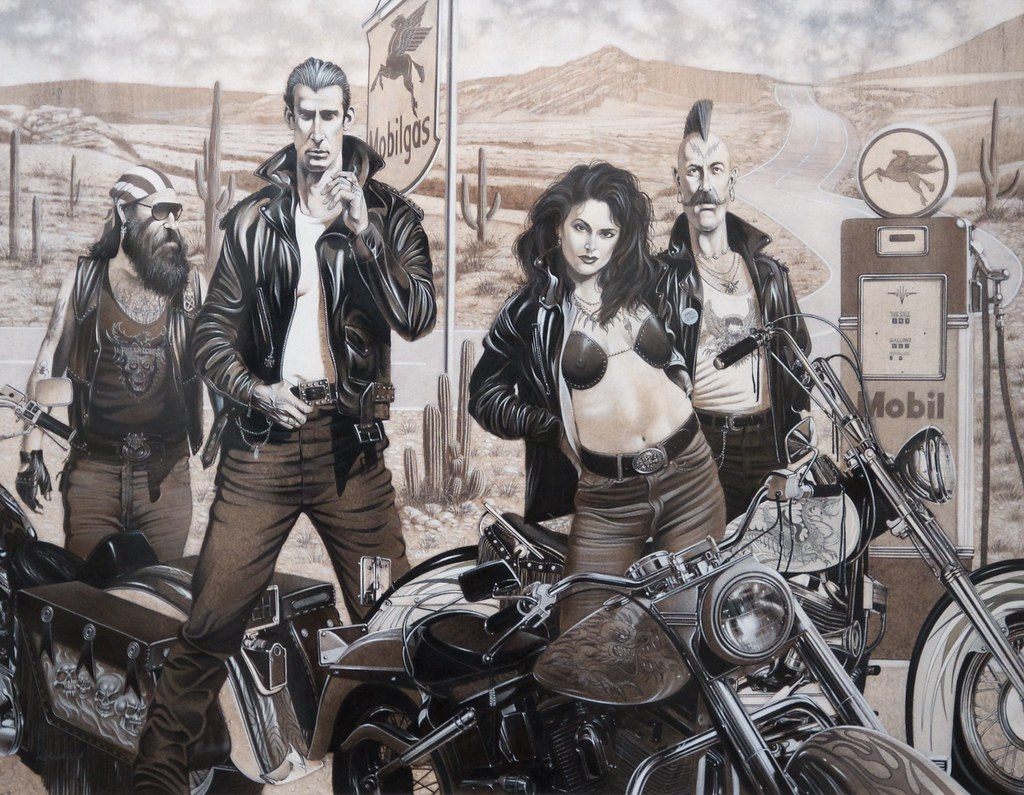 Motorcycle Gang Mixed Media on Board