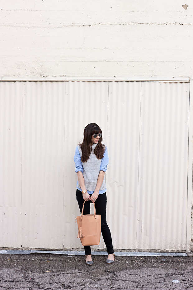 Minnie and George Tote bag, Black Skinny Jeans, Sleeveless Sweater