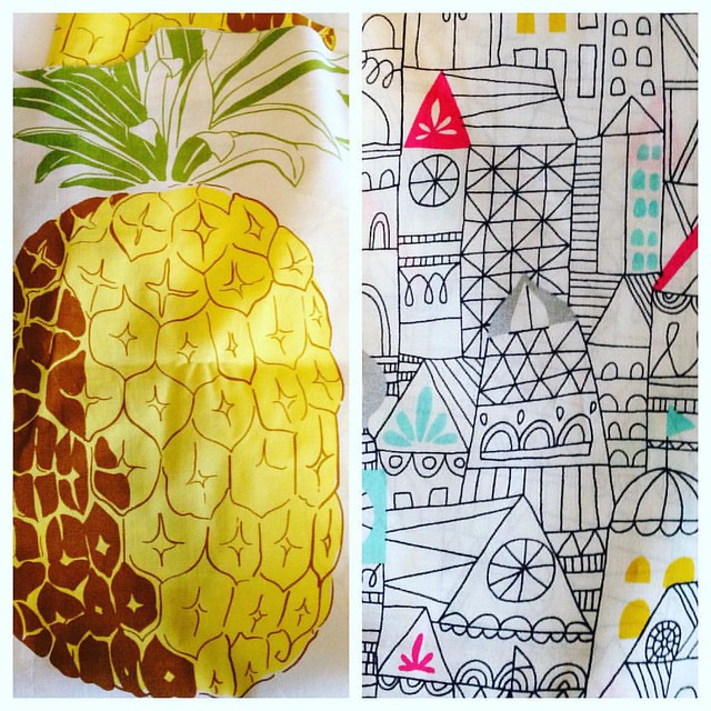 After the successful adjustments have been made to the #fenpattern top, I've dug around and cut out this amazing pineapple fabric from my stash and the gorgeous organic cotton city fabric. Now sew, sew, sew!