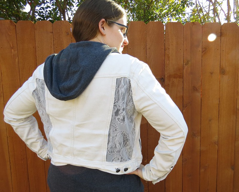 Lace Panel Denim Jacket - After