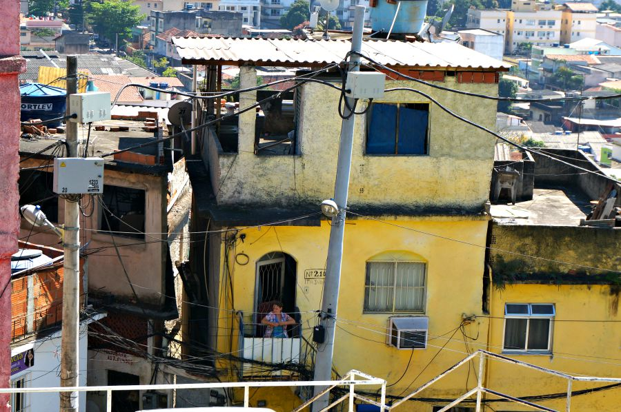 bright yellow home in the favela
